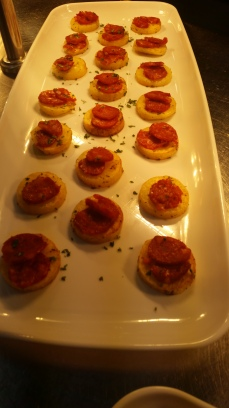 The Potato & Salumi Free Range Chorizo Crostini ready to be served!